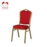 Crown Back Stacking Banquet Chair in Red Fabric - Gold Frame