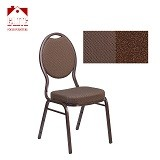 Teardrop Back Stacking Banquet Chair in Brown Patterned Fabric - Copper Vein Frame