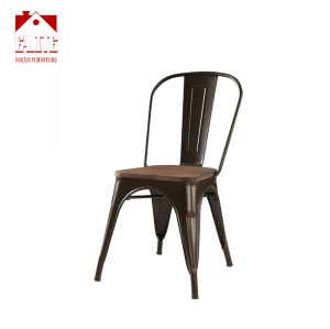 Factory supplier wood top metal chair for restaurant