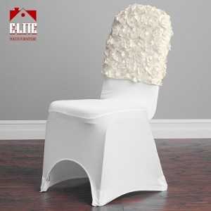 Satin Banquet Rosette Chair Cap, Ivory