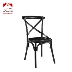 Cross Back Dining Chairs Antique Style Metal Frame Side Chairs With PVC Seat (Black)