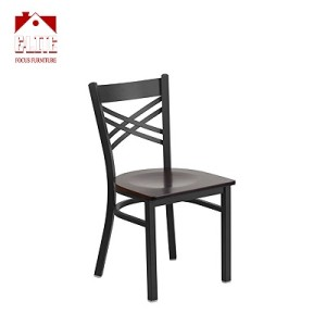 Black ''X'' Back Metal Restaurant Used Dining Chair - Wood Seat