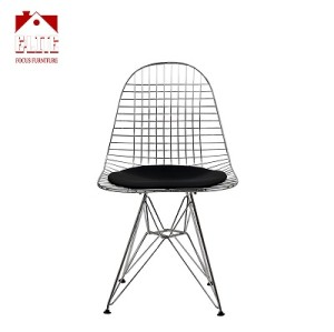 Metal Wire Side Chair With Black Cushion
