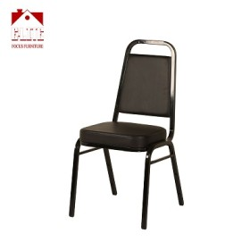 Trapezoidal Back Stacking Banquet Chair in Black Vinyl - Black Frame