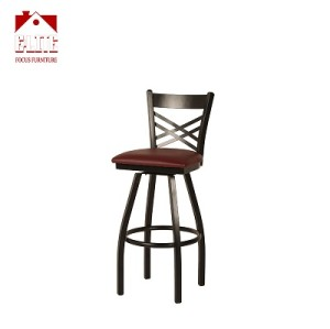 Black ''X'' Back Swivel Metal Barstool - Black Vinyl Seat