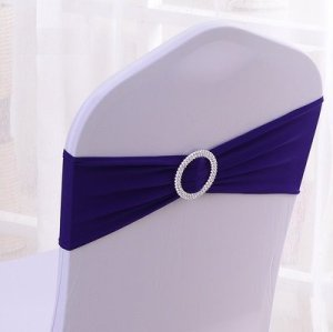 Stretch Wedding Chair Bands With Buckle Slider Sashes Bow Decorations