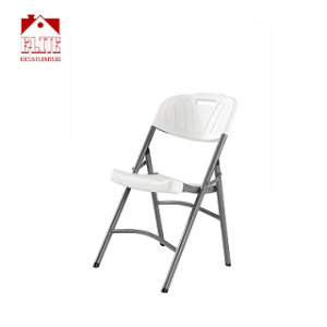 Capacity White Plastic Folding Chair With Charcoal Frame