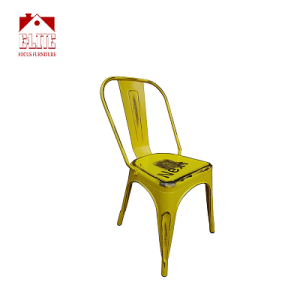 Outdoor Use Tolix Style Distressed Metal Bistro A Dining Side Chair Stackable High back Chic Cafe Side Chair
