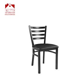 Black Ladder Back Metal Restaurant Chair - Black Vinyl Seat