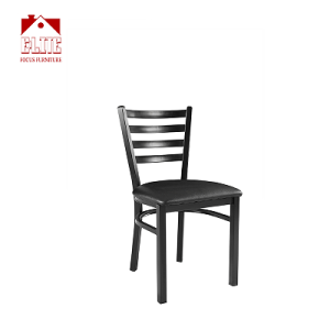 Black Ladder Back Metal Restaurant Chair - Black Vinyl Seat