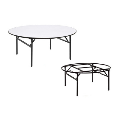 STEEL FRAME ROUND WOODEN TOP RESTAURANT DINING TABLE
