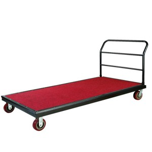 STEEL FRAME RED FABRIC STRONG TABLE TROLLEY