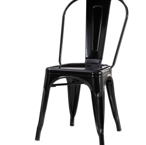 METAL FRAME TOP QUALITY STEEL BISTRO DINING CHAIR BLACK FINISHED