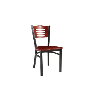 METAL FRAME WOODEN SEAT AND BACK RENTAL RESTAURANT CHAIR