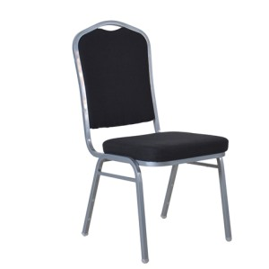 BLACK FABRIC SILVER FRAME STEEL STACKING BANQUET CHAIR