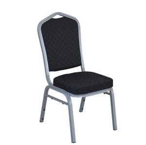 BLACK PATTERNED FABRIC SILVER FRAME STEEL STACKING BANQUET CHAIR-FLUTED FRAME