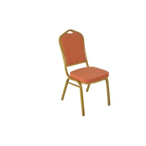ORANGE PATTERNED FABRIC GOLDEN FRAME STEEL STACKING BANQUET CHAIR-FLUTED FRAME