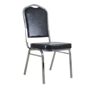 CHROMED STEEL BLACK PU STACKING CROWN BACK BANQUET CHAIR