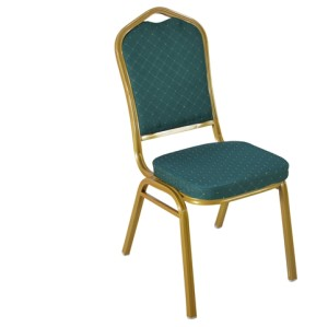 GREEN PATTERNED FABRIC GOLDEN FRAME STEEL STACKING BANQUET CHAIR-FLUTED FRAME