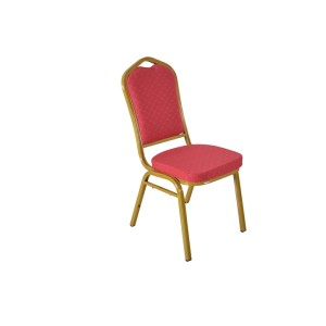 RED PATTERNED FABRIC GOLDEN FRAME STEEL STACKING BANQUET CHAIR-FLUTED FRAME