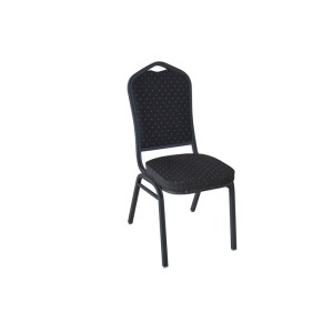 BLACK PATTERNED FABRIC BLACK VEIN FRAME STEEL STACKING BANQUET CHAIR-FLUTED FRAME