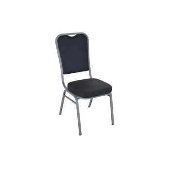 BLACK PU SILVER FRAME STEEL STACKING SQUARE BACK BANQUET CHAIR-PLAIN FRAME