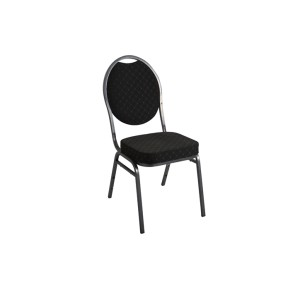 BLACK PATTERNED SILVER VEIN FRAME STEEL STACKING ROUND BACK BANQUET CHAIR-PLAIN FRAME