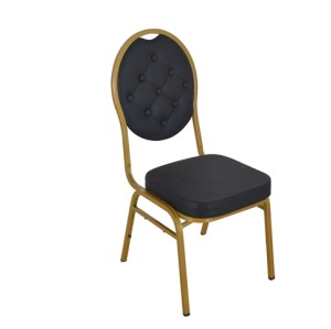 BLACK PU GOLD FRAME STEEL STACKING ROUND BUTTON BACK BANQUET CHAIR-PLAIN FRAME