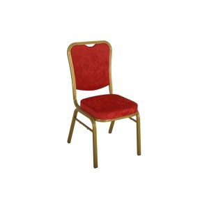 RED VELVET GOLD FRAME STEEL STACKING SQUARE BACK BANQUET CHAIR-FLUTED FRAME