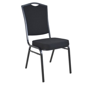 BLACK FABRIC BLACK FRAME STEEL STACKING THRONE BACK BANQUET CHAIR-PLAIN FRAME