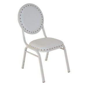 WHITE VINYL WHITE FRAME STEEL STACKING TEARDROP BACK BANQUET CHAIR-FLUTED FRAME