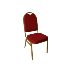 RED FLECKED FABRIC GOLD FRAME STEEL STACKING ROUND LADDER BACK BANQUET CHAIR-PLAIN FRAME