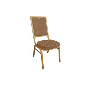 GREY PATTERNED GOLD FRAME STEEL STACKING SQUARE BACK BANQUET CHAIR-FLUTED FRAME