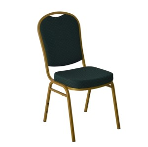 GREEN PATTERNED GOLD FRAME STEEL STACKING ROUND BACK BANQUET CHAIR-PLAIN FRAME