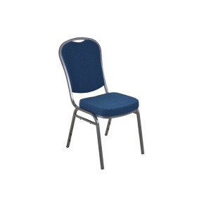 BLUE PATTERNED SILVER VEIN FRAME STEEL STACKING ROUND BACK BANQUET CHAIR-PLAIN FRAME