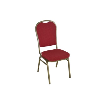 RED PATTERNED GOLD VEIN FRAME STEEL STACKING ROUND BACK BANQUET CHAIR-PLAIN FRAME