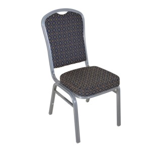 BLUE PATTERNED SILVER FRAME STEEL STACKING CROWN BACK BANQUET CHAIR-FLUTED FRAME