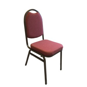 RED FABRIC GOLD VEIN FRAME STEEL STACKING ROUND BACK BANQUET CHAIR-PLAIN FRAME
