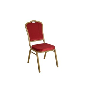 RED VELVET EMBROIDER FABRIC GOLD FRAME STEEL STACKING THRONE BACK BANQUET CHAIR-FLUTED FRAME