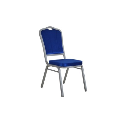 BLUE VELVET EMBROIDER FABRIC SILVER FRAME STEEL STACKING THRONE BACK BANQUET CHAIR-FLUTED FRAME