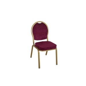 PURPLE VELVET FABRIC GOLD FRAME STEEL STACKING ROUND BACK BANQUET CHAIR-FLUTED FRAME