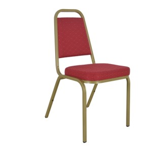 SQUARE BACK RED FABRIC STEEL FRAME RESTAURANT BANQUET CHAIR