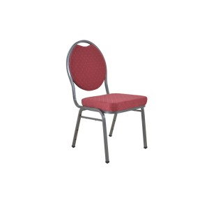 ROUND BACK RED FLECKED FABRIC STEEL FRAME HOTEL BANQUET CHAIR