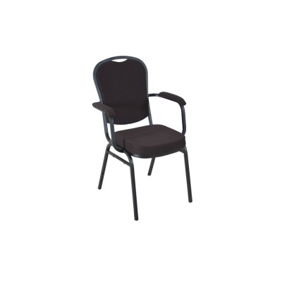 BROWN PATTERNED FABRIC BLACK FRAME STEEL STACKING BANQUET ARM CHAIR-PLAIN FRAME