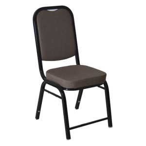GREY FABRIC BLACK FRAME STEEL STACKING BANQUET CHAIR-FLUTED FRAME