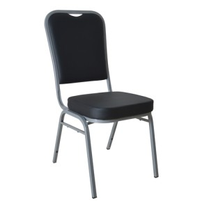 BLACK VINYL SILVER FRAME STEEL STACKING BANQUET CHAIR-PLAIN FRAME