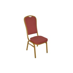 RED PATTERNED FABRIC GOLD FRAME STEEL STACKING HIGH BACK BANQUET CHAIR-FLUTED FRAME