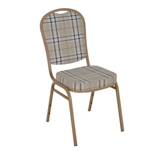 PATTERNED FABRIC WOOD VENEER FRAME STEEL STACKING ROUND BACK BANQUET CHAIR-PLAIN FRAME