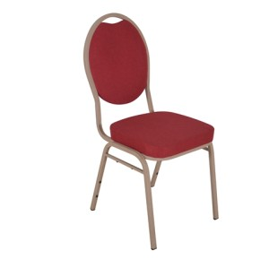 RED FABRIC WOOD VENEER FRAME STEEL STACKING TEARDROP BACK BANQUET CHAIR-PLAIN FRAME