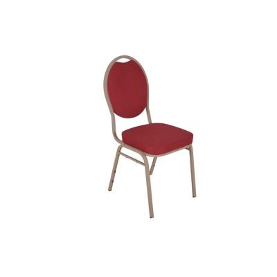 RED FABRIC WOOD VENEER FRAME STEEL STACKING TEARDROP BACK BANQUET CHAIR-PLAIN FRAME